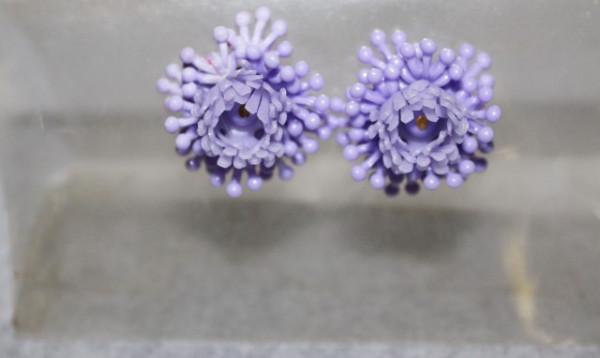 Cercei vintage floare violet anii '50
