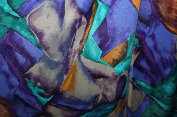 Fusta print abstract turcoaz, violet si portocaliu anii '80