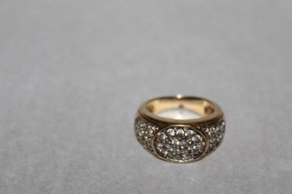 Inel vintage placat cu aur ornamente cristale anii '60