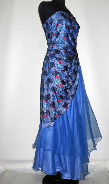 Rochie de seara din organza albastra anii '80