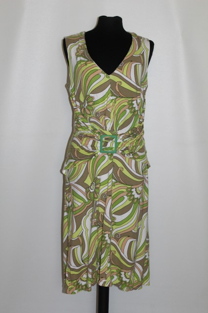 Rochie print psihedelic verde repro anii '60