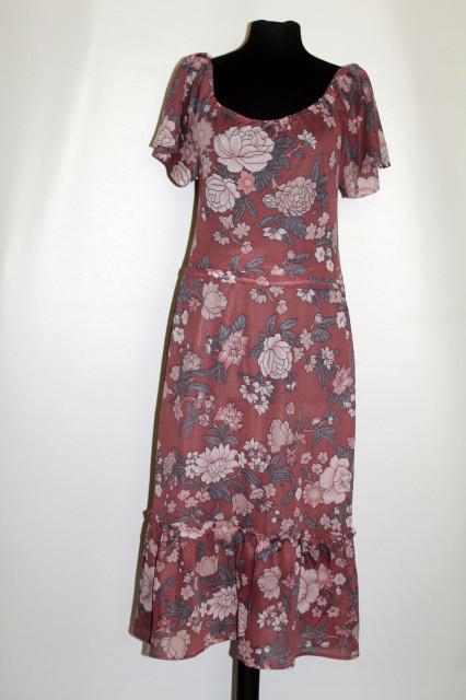 Rochie vintage maro tosca cu print floral anii '70