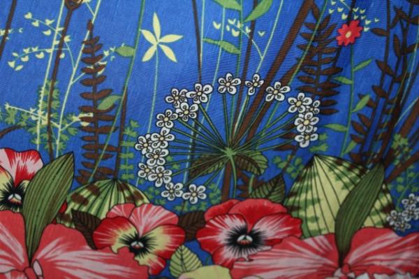 Rochie vintage print floral pe fond albastru imperial anii '70