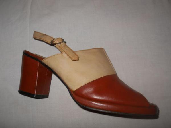 Sandale bicolore anii '70