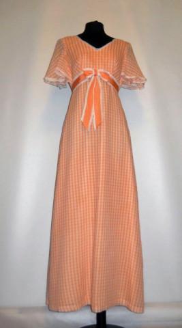 Rochie vintage maxi patratele portocalii anii '60