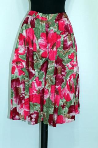 Fusta - pantalon flori rosii anii '80