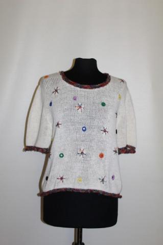 Bluza aplicatii oglinda si broderie colorata anii '80