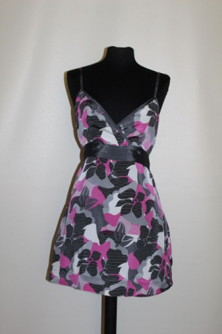 Bluza print abstract fucsia si gri repro anii '70