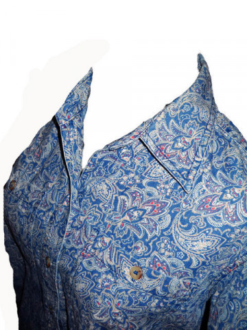 "Camasa albastra cu floricele ""Liz Clairborne"" anii '70"