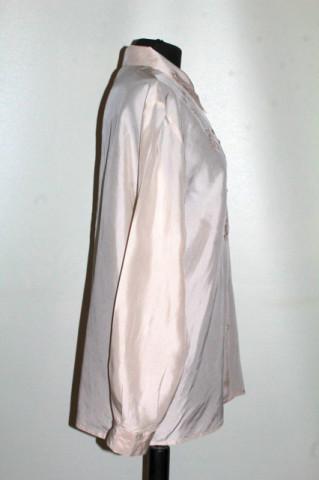 Cămașă bej brodată mătase naturală anii 70-80