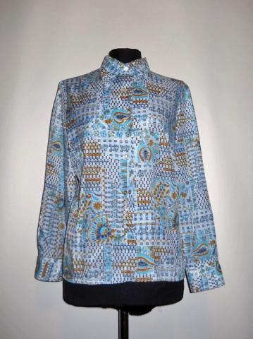 Camasa vintage print paisley si floral albastru anii '70