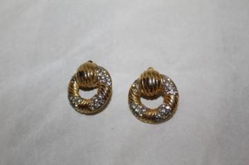 Cercei vintage rotunzi cristale anii 60 - 70