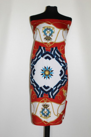 Esarfa retro mare print heraldic anii '80