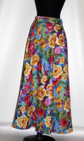Fustă maxi vintage print floral anii 70