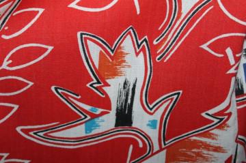 Fustă print vegetal pe fond roșu anii 70