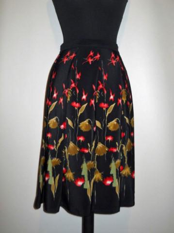 Fusta vintage din crepe print floral anii '70