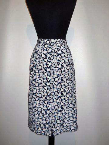 Fusta vintage print floral albastru anii '70