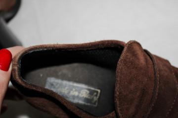 Pantofi maro vintage piele intoarsa anii '70