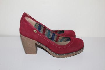 Pantofi roșu marsala repro anii 70