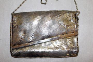 Poseta din mesh metalic argintiu anii '70.