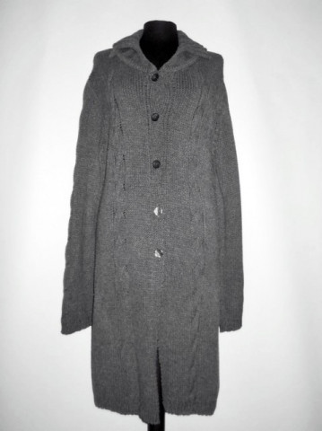 Pulover - pardesiu din tricot gri repro anii '70