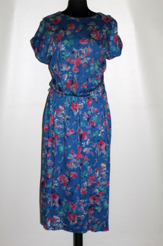 Rochie albastră print floral anii 70