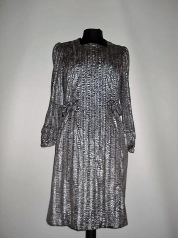 Rochie de ocazie print pictat argintiu anii '60