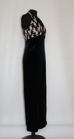 Rochie de seara vintage negru cu auriu anii '70