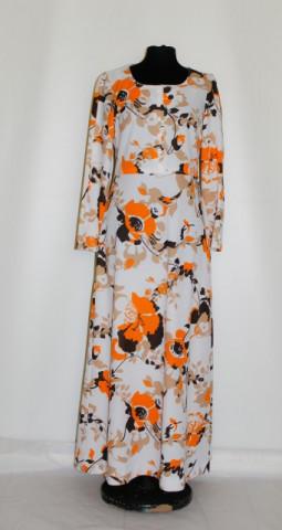 Rochie maxi flori portocalii anii '70