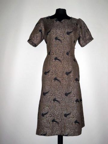 Rochie vintage din brocat maro model paisley anii '60
