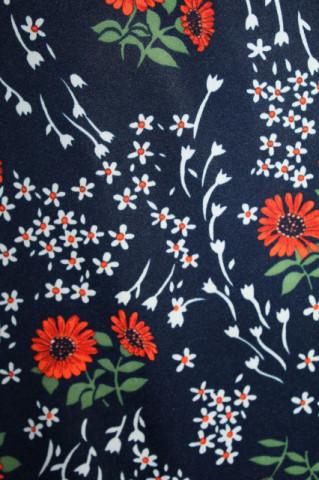 Rochie vintage flori roșii anii 70