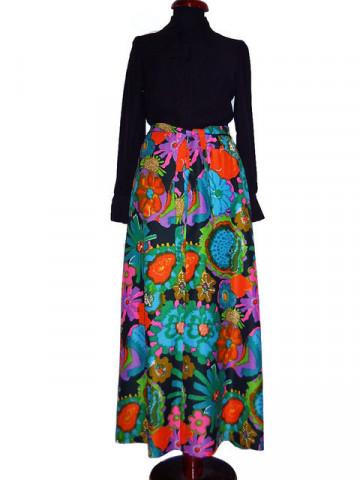 Rochie vintage maxi flori multicolore anii '60