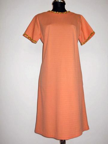 Rochie vintage portocaliu piersica decoratiuni florale anii '60