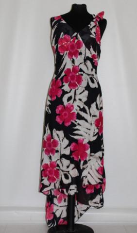 Rochie flori rosii si frunze de palmier repro anii '70