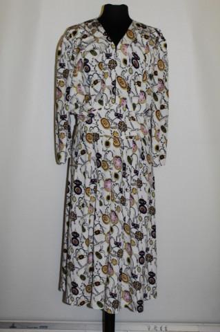 Rochie retro print floral stilizat violet anii '80