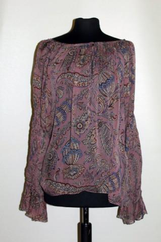 Bluză din mătase naturală prin paisley repro anii 70