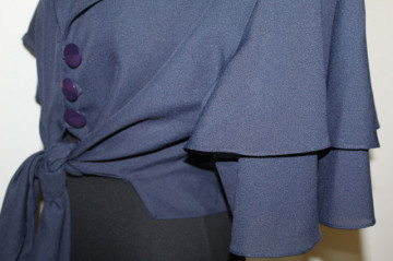 Bluză din chiffon bleumarin anii 80