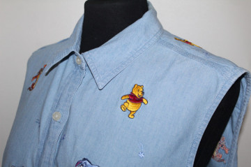 Cămașă jeans brodată anii 90