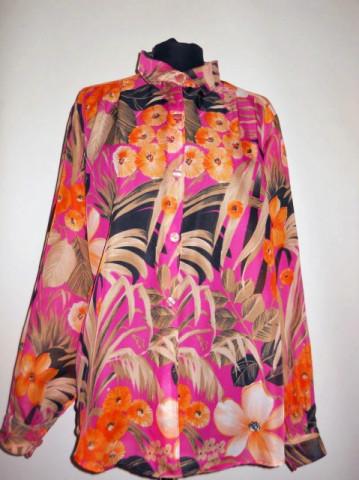 Camasa vintage din voal print floral anii '60