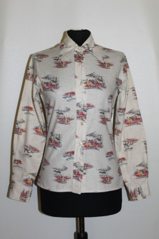 Camasa vintage print corabii anii '70