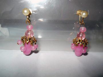 Cercei vintage ciorchine din sticla roz anii '30