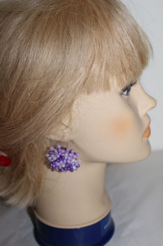 Cercei vintage cluster violet anii 60