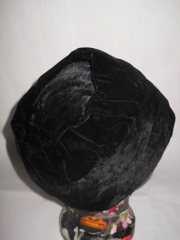 Cloche vintage negru ornamente catifea anii '20