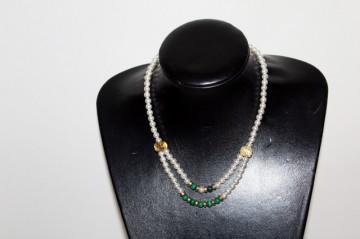 Colier perle si malahit anii '50
