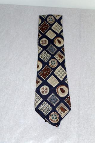 Cravata print geometric, pisici si magarusi anii '70
