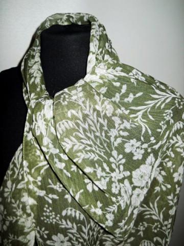 Esarfa retro verde menta print floral anii '80