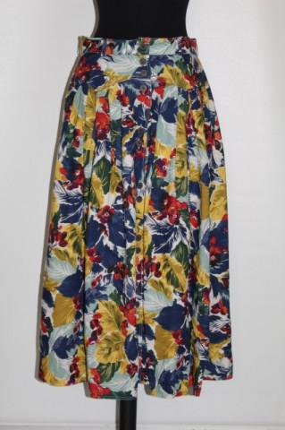 Fustă retro print floral multicolor anii 80