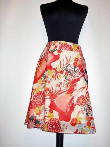Fusta retro print floral si paisley anii '90