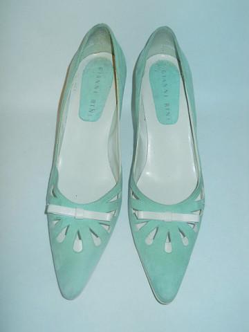 Pantofi turcoaz cu fundita repro anii '60