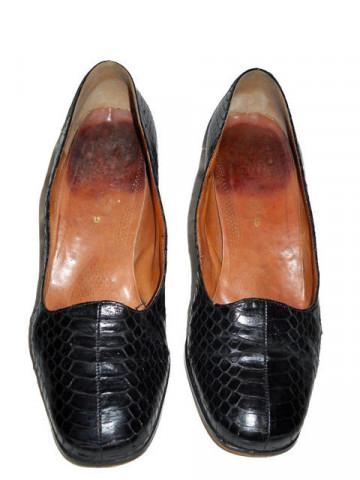 Pantofi vintage negri din piele veritabila de sarpe anii '60